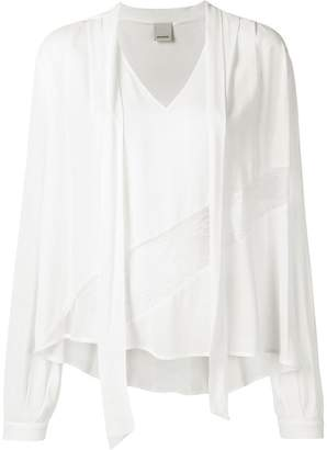 Pinko lace-panelled jersey top