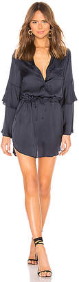 Chaser Tiered Bell Sleeve Button Down Hi Lo Shirttail Dress