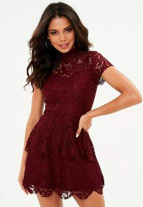 Missguided Burgundy short sleeve double layer skater dress