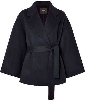 Theory Wool And Cashmere-blend Jacket - Navy