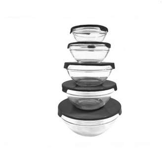 4BATYAM Nested Dipping Glass Bowl Set Storage Container with Lid (10 Piece) -Black