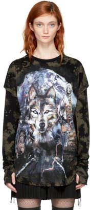 Balmain Brown and Black Layered Wolf T-Shirt