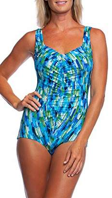 Maxine Of Hollywood Women's Shirred Front Girl Leg One Piece Swimsuit,8