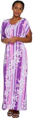 Bob Mackie Bob Mackie's Floral Printed Tulip Sleeve Knit Maxi Dress