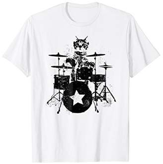 Rockstar Kitty Cat Beating drums Graphic tee T Shirt
