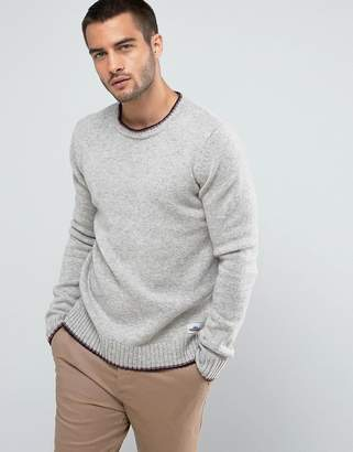 Penfield Gering Crew Sweater Lambswool Tipped in Gray