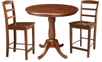 "INC International Concepts 36"" Round Pedestal Gathering Height Table With 2 Counter Height Stools - 3 Piece Set - Espresso"