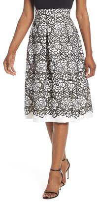 Eliza J Pleated Floral Cutout Applique Skirt