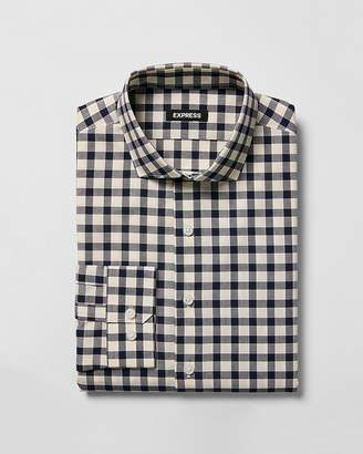 Express Slim Plaid Spread Collar Dress Shirt