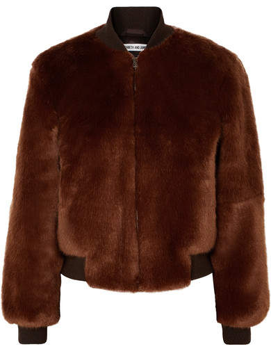 Elizabeth and James - Ellington Knit-trimmed Faux Fur Bomber Jacket - Brown
