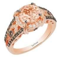 LeVian Chocolatier Vanilla Diamond, Chocolate Diamond, Peach Morganite and 14K Strawberry Gold Ring