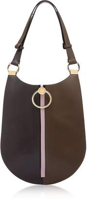 Marni Coffee, Wenge and Powder Pink Leather Earring Shoulder Bag
