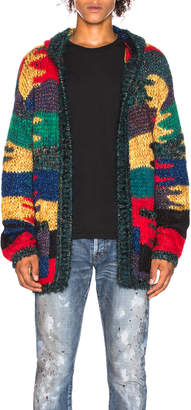 Saint Laurent Patchwork Hooded Cardigan in Multicolor | FWRD