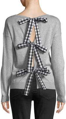 Marled By Reunited Gingham Ribbon Back-Bow Sweatshirt