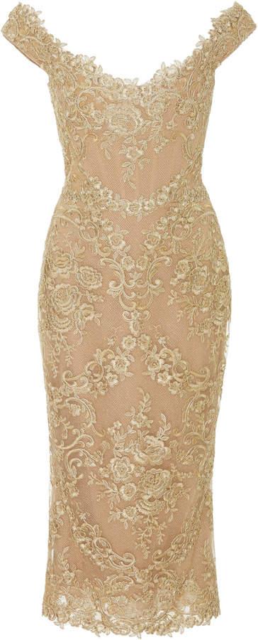 Marchesa Off-The-Shoulder Metallic Corded-Lace Midi Dress