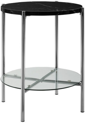 Walker Edison 20 Modern Round End Table With Glass Shelf, Top: Black Marble