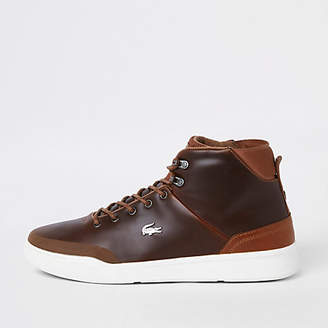 River Island Lacoste brown leather hi top sneakers