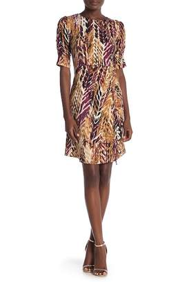 Amelia Short Sleeve Drawstring Ruched Print Dress