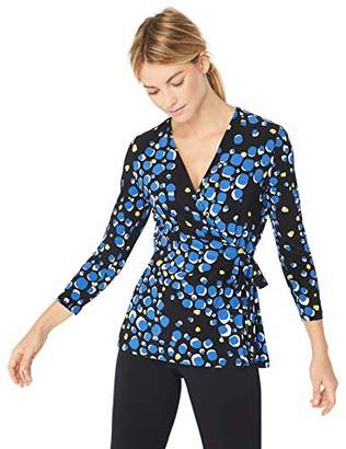 Anne Klein Women's Printed WRAP TOP