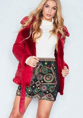 Missy Empire Missyempire Sara Red Faux Shearling Jacket