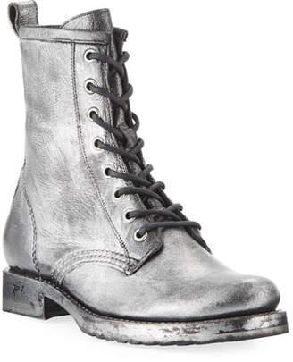 Frye Veronica Metallic Leather Combat Booties