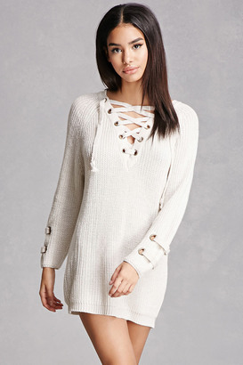 FOREVER 21+ Lace-Up Sweater Dress $48 thestylecure.com