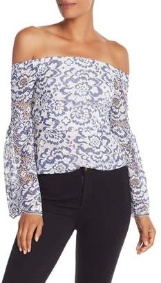 BCBGMAXAZRIA Floral Lace Off-The-Shoulder Top