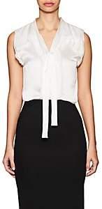 Zac Posen Women's Silk Charmeuse Scarf-Neck Blouse - White