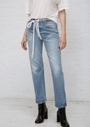 Off-White vintage wash zipped jeans levis vintage $536 thestylecure.com