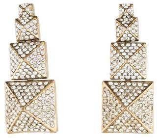 Valentino Pavé Crystal Pyramid Drop Earrings