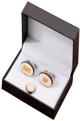 Lillian Rose Suit Up Wood Cufflinks and Tie Tack Set