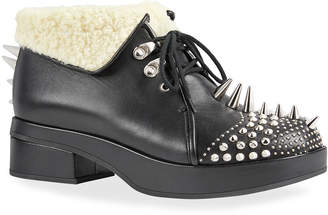 Gucci Leather Booties With Spikes And Studs