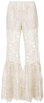 Anna Sui flared crochet trousers