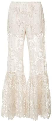 Anna Sui floral medallion lace trousers