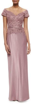 La Femme Belted Off-the-Shoulder Lace & Satin Gown, Mauve $590 thestylecure.com