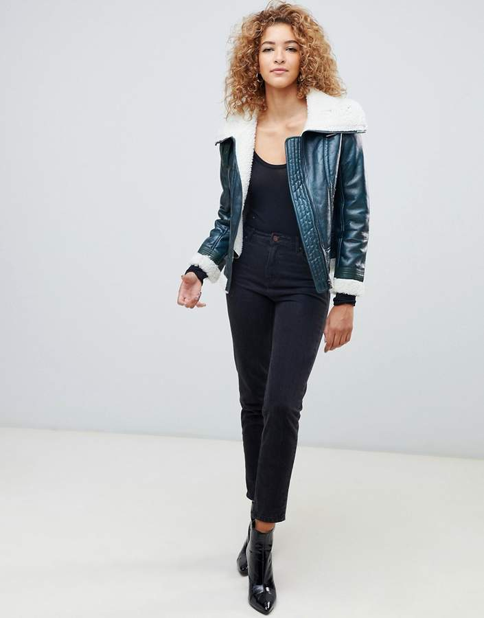 Missguided Green Faux Shearling Leather Pilot Jacket