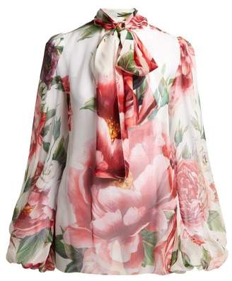 Dolce & Gabbana Floral Print Silk Chiffon Blouse - Womens - White Multi