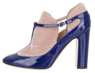 Valentino Patent Leather Ankle Boots Blue Patent Leather Ankle Boots