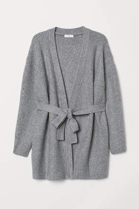 H&M Cardigan with a tie belt - Gray