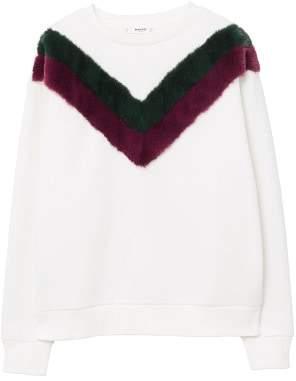 MANGO Velvet panel sweatshirt