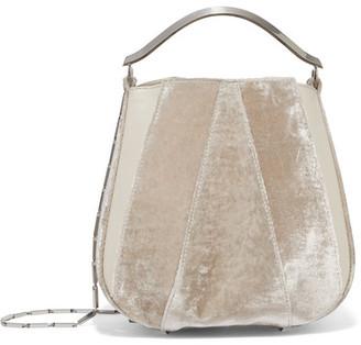 Pepper Velvet And Leather Bucket Bag - Ivory