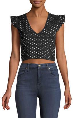 Club Monaco Scoobalyn Reversible Polka-Dot Print Cropped Sweater