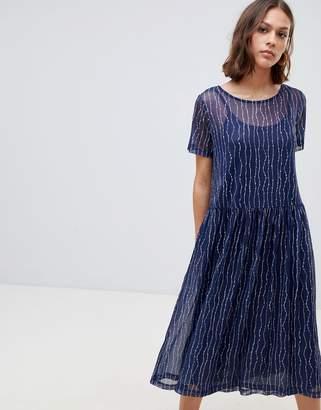 Ichi Printed Mesh Overlay Dress
