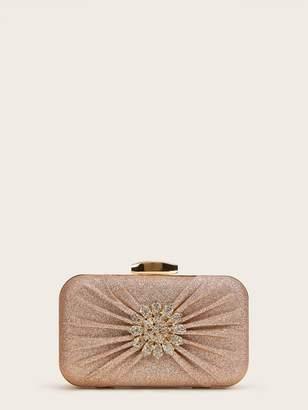 Shein Rhinestone Decor Ruched Clutch Bag