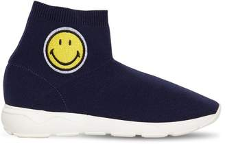 Joshua Sanders Smiley Patch Knit Slip-On Sock Sneakers