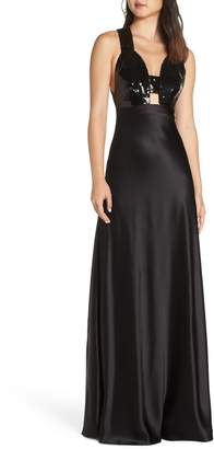 Jill Stuart Sanna Strappy Sequin & Satin Gown