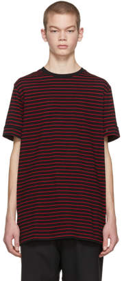Neil Barrett Black and Red Striped Roll Up Sleeve T-Shirt