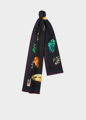 Paul Smith Men's Black 'Precious Stones' Print Silk Scarf
