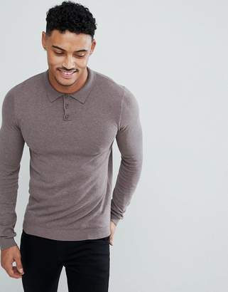 Asos Design DESIGN muscle fit knitted polo in light khaki