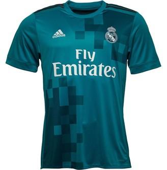 adidas Mens RMCF Real Madrid Third Shirt Vivid Teal/Grey/White